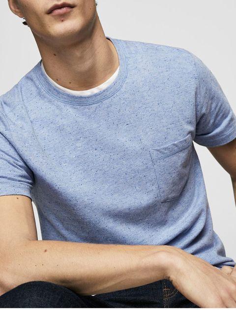 تی شرت نخی یقه گرد مردانه - آبي - 2