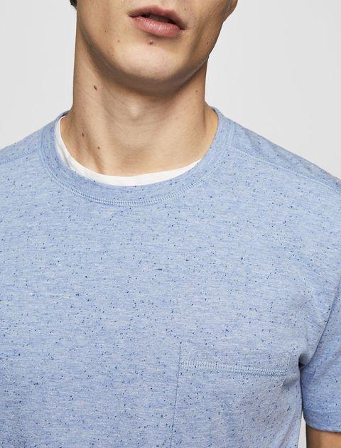 تی شرت نخی یقه گرد مردانه - آبي - 3