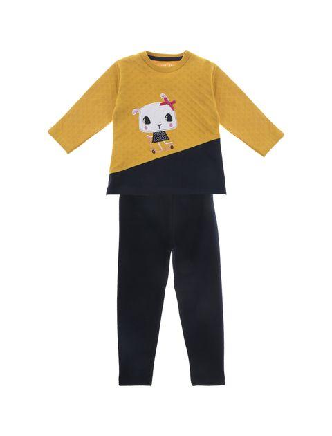 تی شرت و شلوار نخی دخترانه - سون پون - خردلي/ سرمه اي - 1