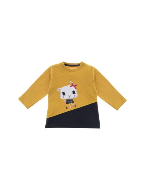 تی شرت و شلوار نخی دخترانه - سون پون - خردلي/ سرمه اي - 2