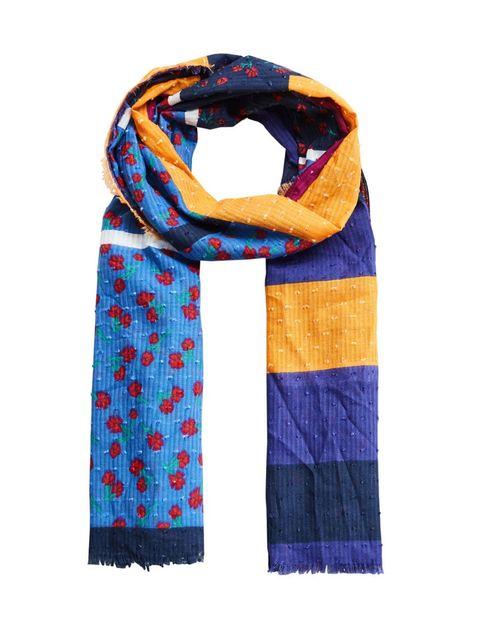 شال نخی طرح دار زنانه - مانگو - چند رنگ - 1