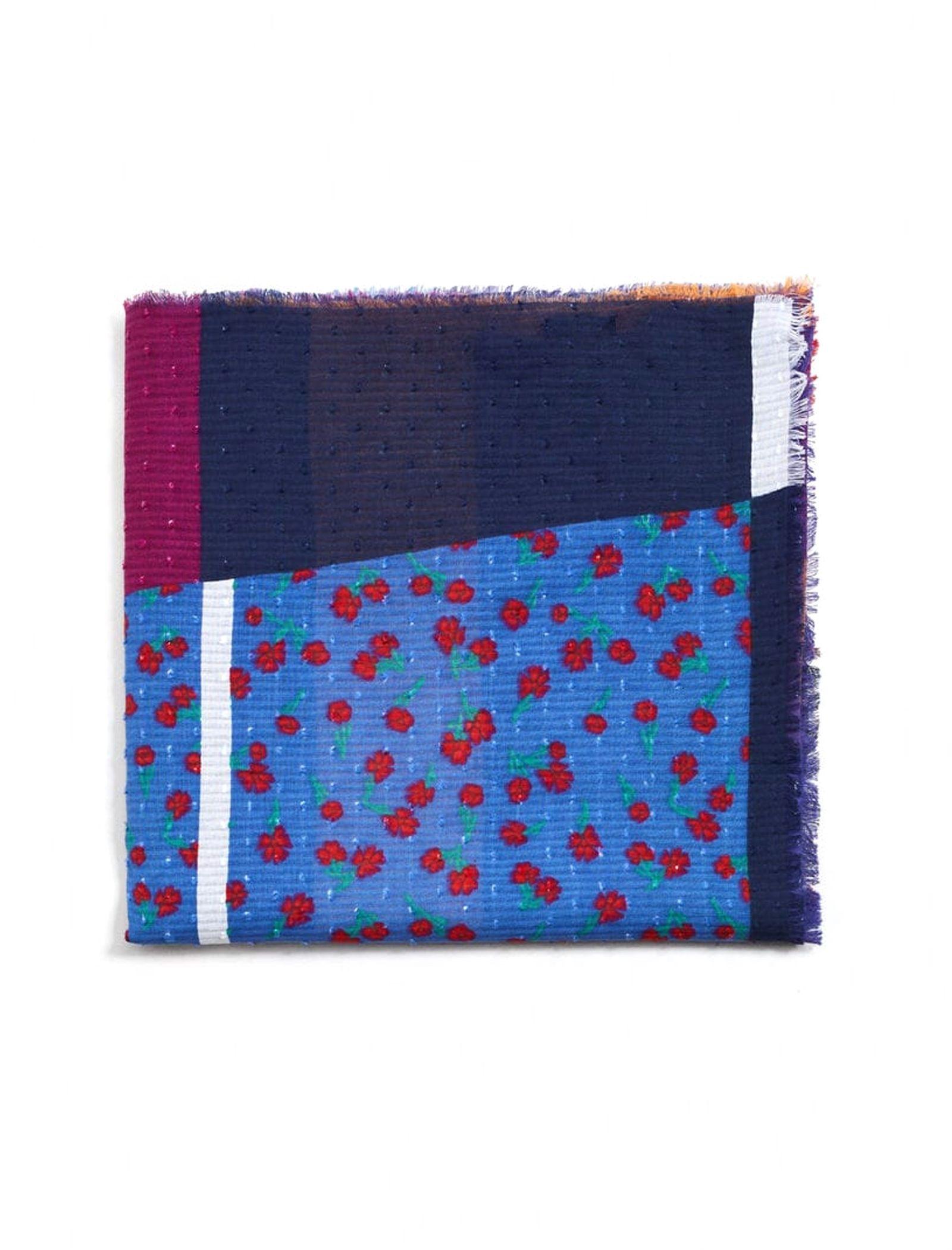 شال نخی طرح دار زنانه - مانگو - چند رنگ - 2