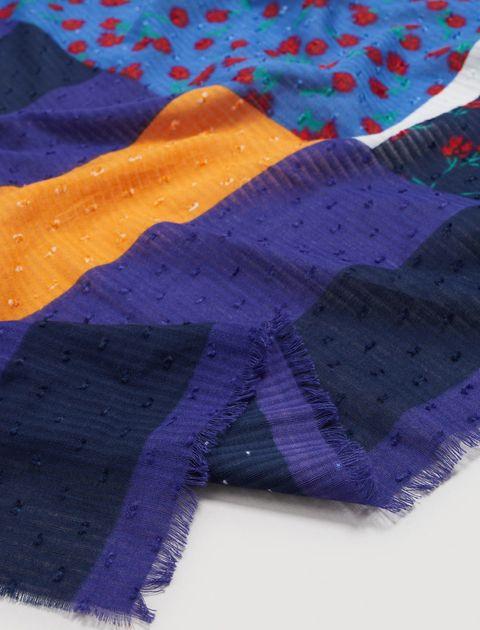 شال نخی طرح دار زنانه - مانگو - چند رنگ - 3