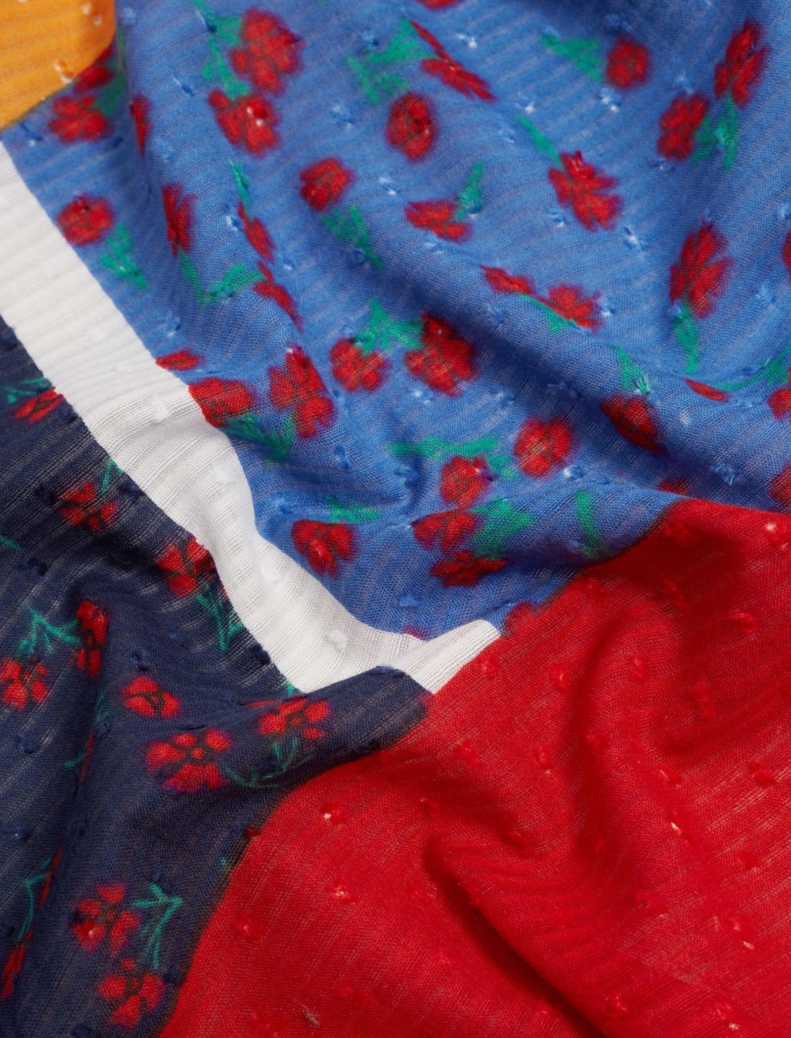 شال نخی طرح دار زنانه - مانگو - چند رنگ - 5