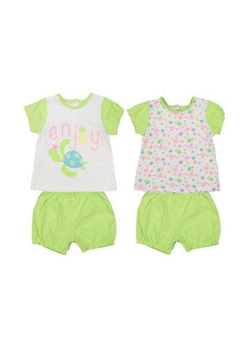 تی شرت و شلوارک نخی نوزادی دخترانه بسته 2 عددی