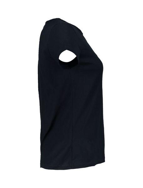 تی شرت نخی یقه گرد زنانه - سرمه اي - 4