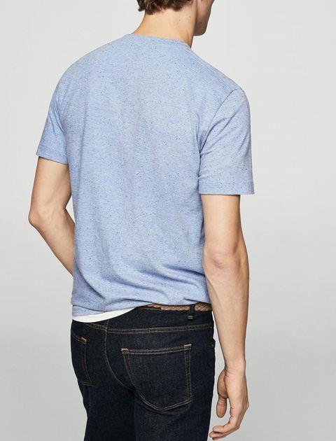 تی شرت نخی یقه گرد مردانه - آبي - 4