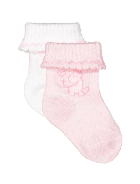 جوراب نخی نوزادی دخترانه بسته 2 عددی - سفيد/صورتي - 1