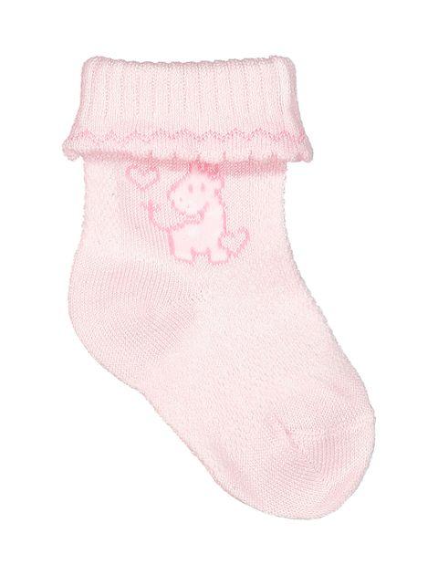 جوراب نخی نوزادی دخترانه بسته 2 عددی - سفيد/صورتي - 4