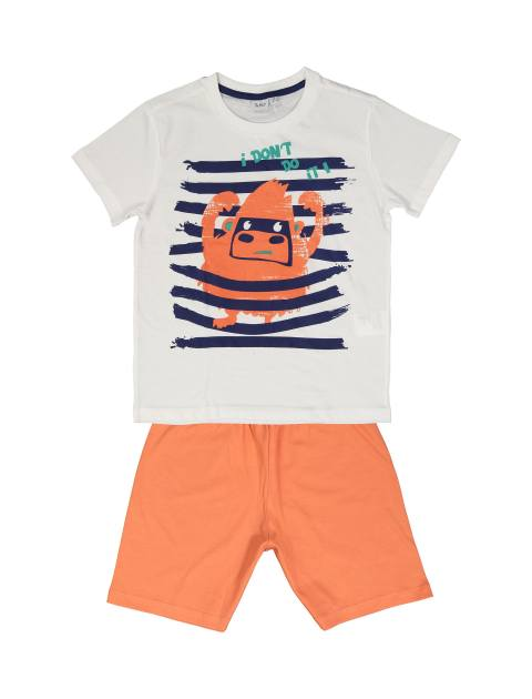 تی شرت و شلوارک نخی پسرانه - سفيد/نارنجي - 1