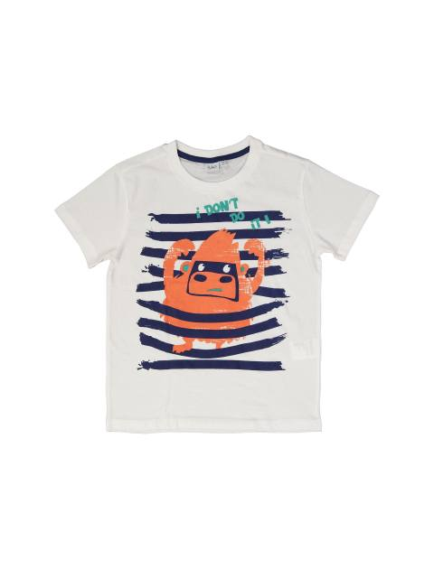 تی شرت و شلوارک نخی پسرانه - سفيد/نارنجي - 3