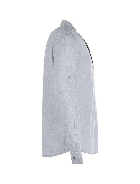 پیراهن نخی آستین بلند مردانه - طوسي - 3