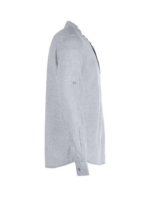پیراهن نخی آستین بلند مردانه - پاتن جامه - طوسي - 3