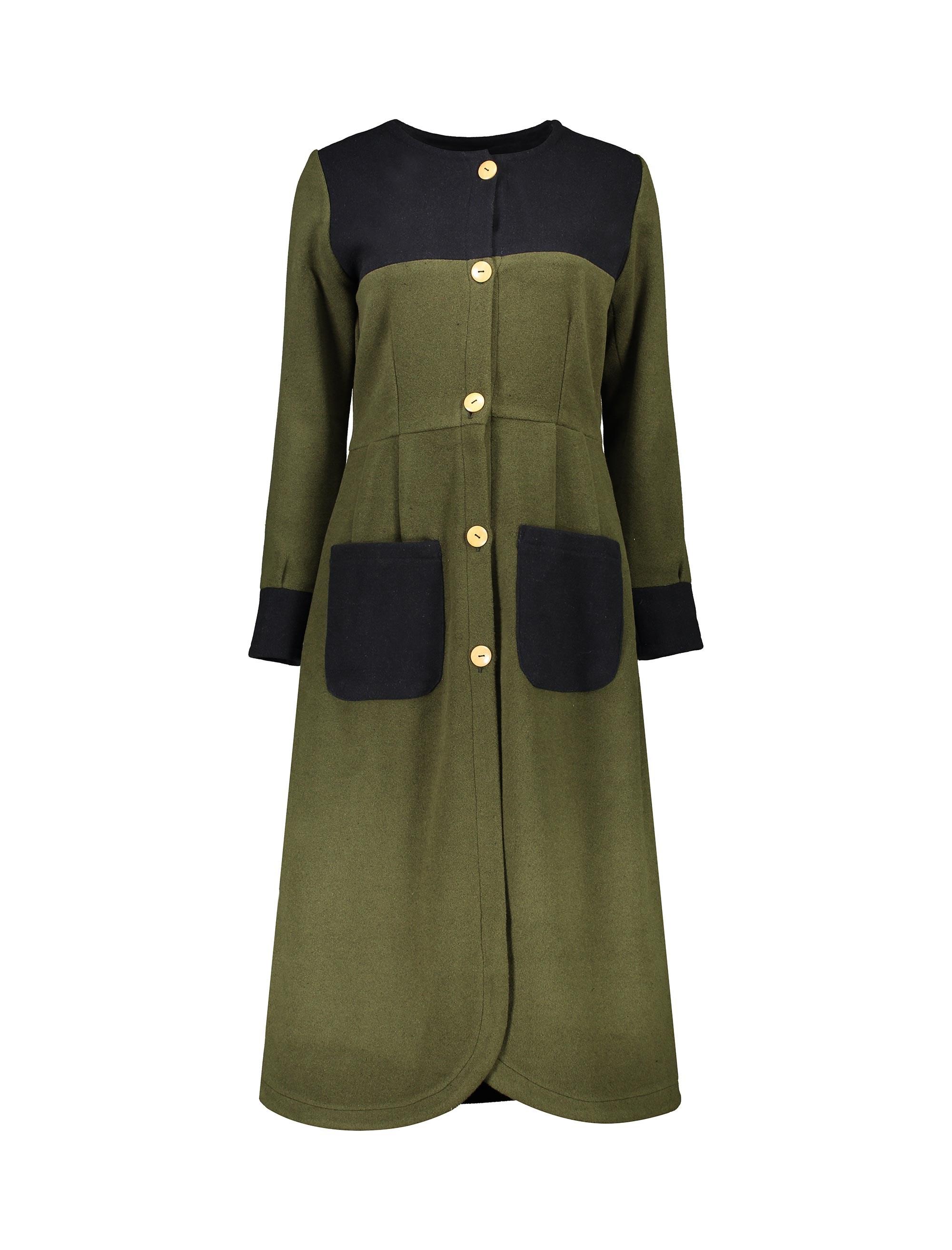 پالتو بلند زنانه - سبز ارتشي/سرمهاي - 1