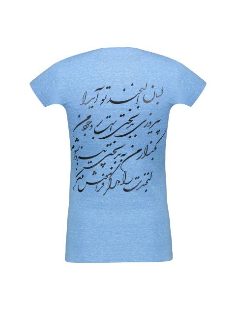تی شرت یقه گرد زنانه - آبي روشن - 2