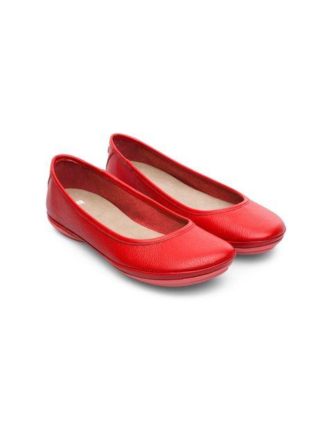 کفش تخت چرم زنانه Right Nina - کمپر - قرمز - 5