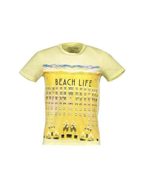 تی شرت یقه گرد مردانه - زرد - 1