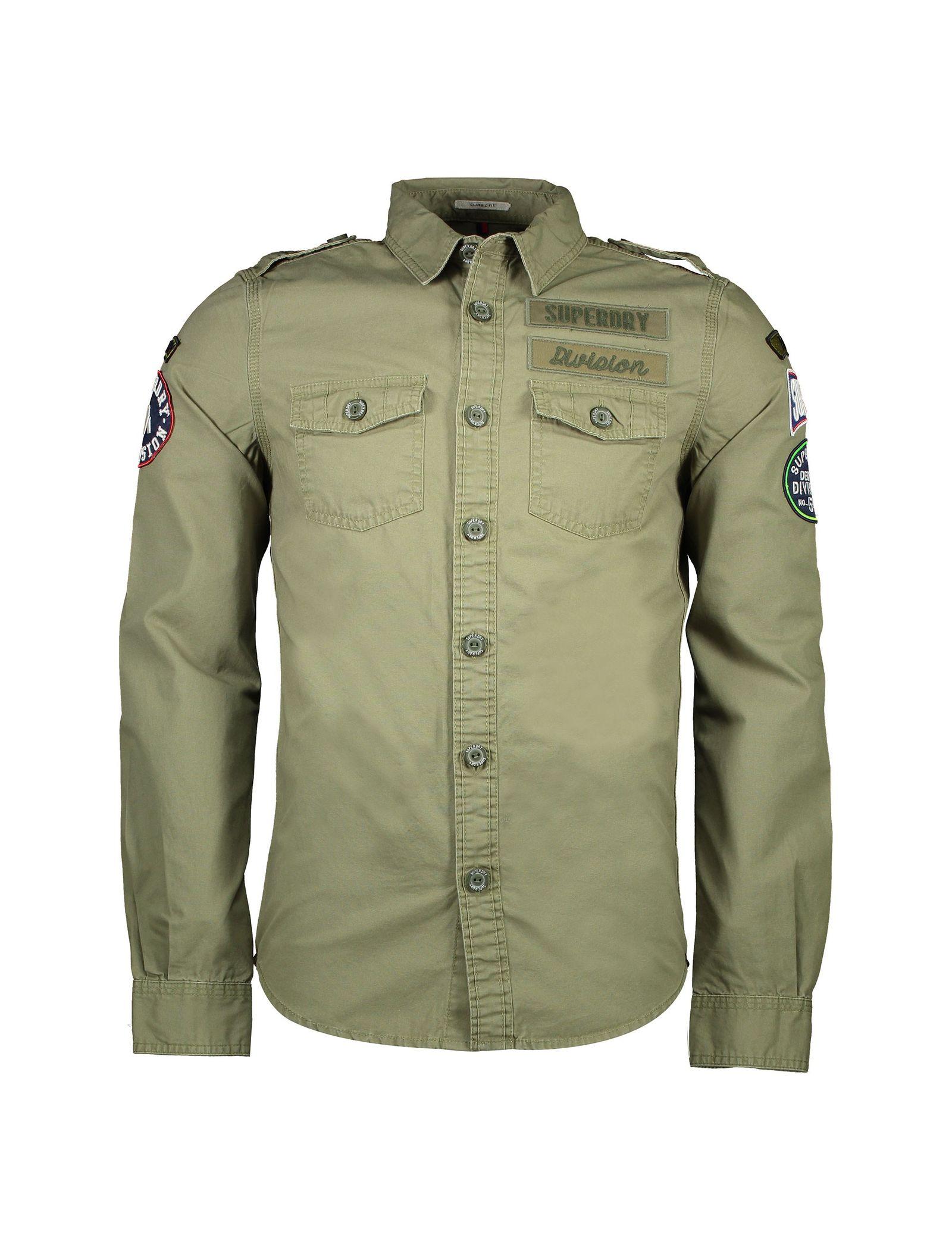 پیراهن نخی آستین بلند مردانه - سوپردرای - سبز - 1