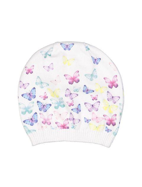 کلاه نخی طرح دار نوزادی دخترانه - سفيد - 2