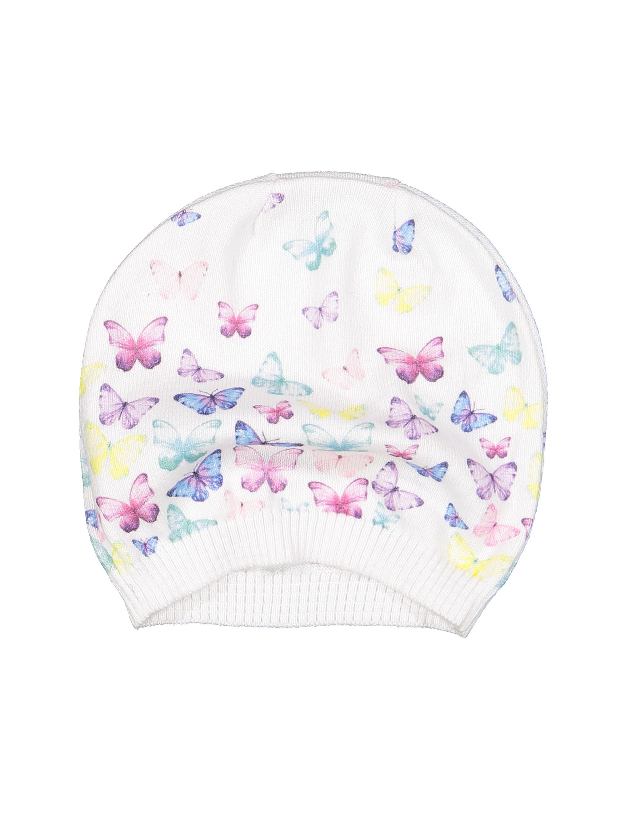 کلاه نخی طرح دار نوزادی دخترانه - سفيد - 3