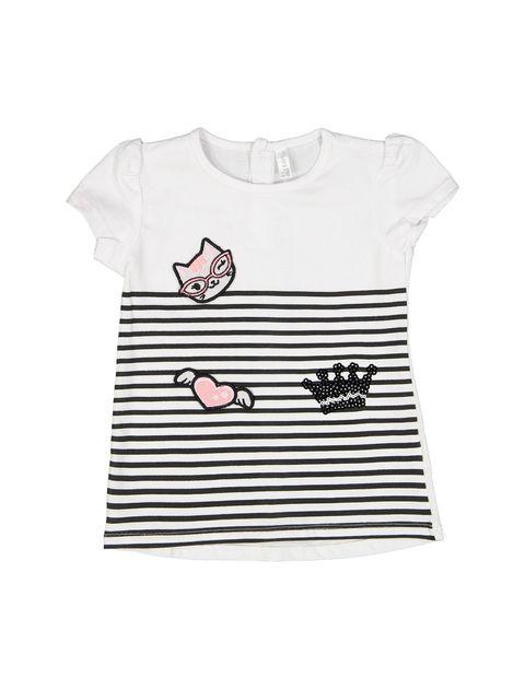 تی شرت نخی نوزادی دخترانه - سفيد مشکي - 1