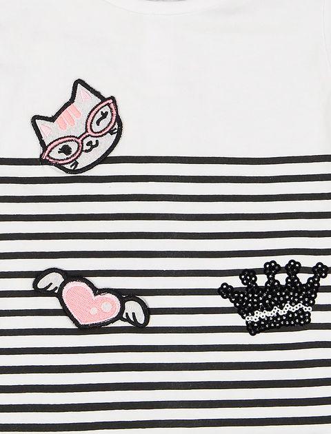 تی شرت نخی نوزادی دخترانه - ایدکس - سفيد مشکي - 3