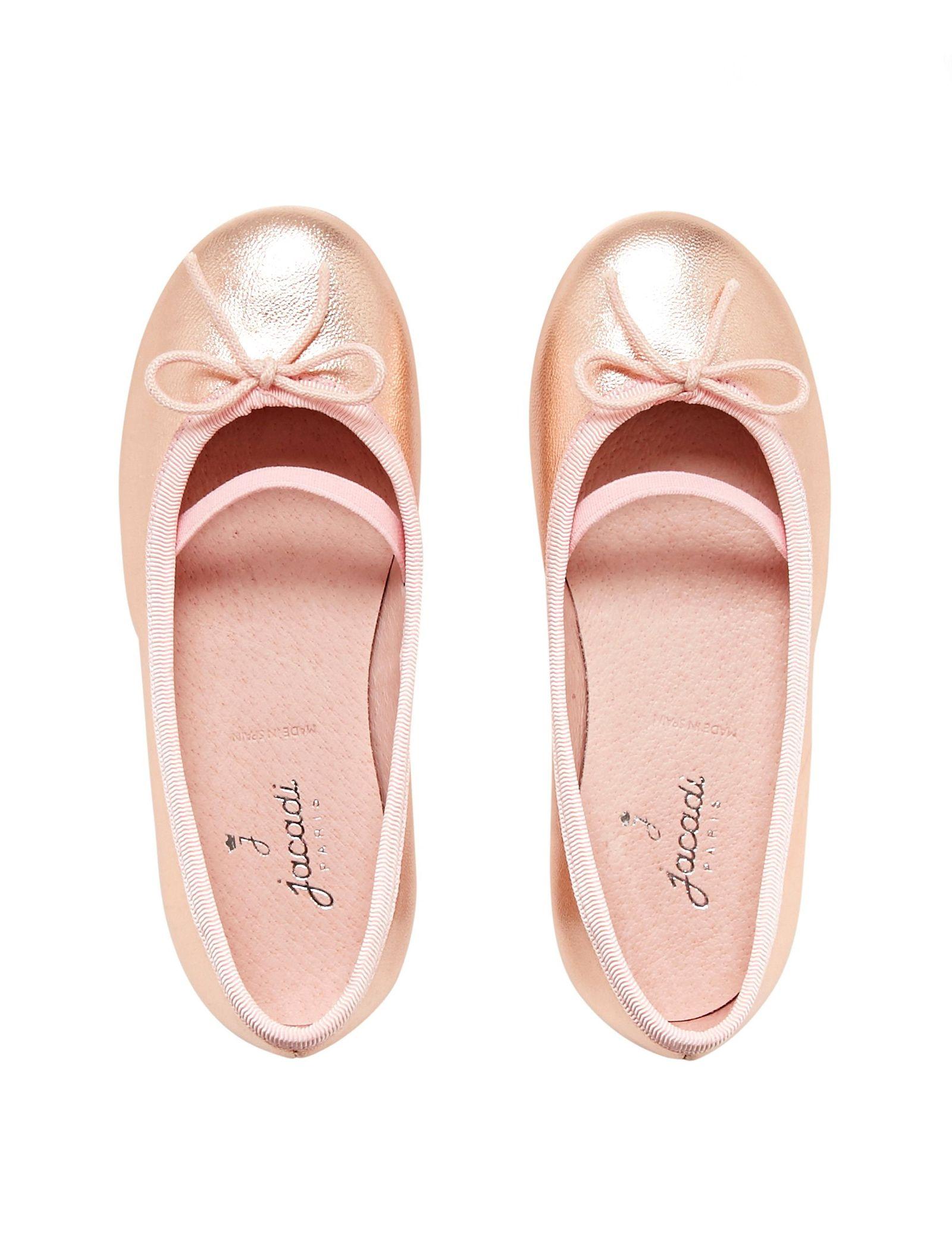 کفش تخت چرم عروسکی دخترانه Dittle Irisee - جاکادی - رزگلد - 2