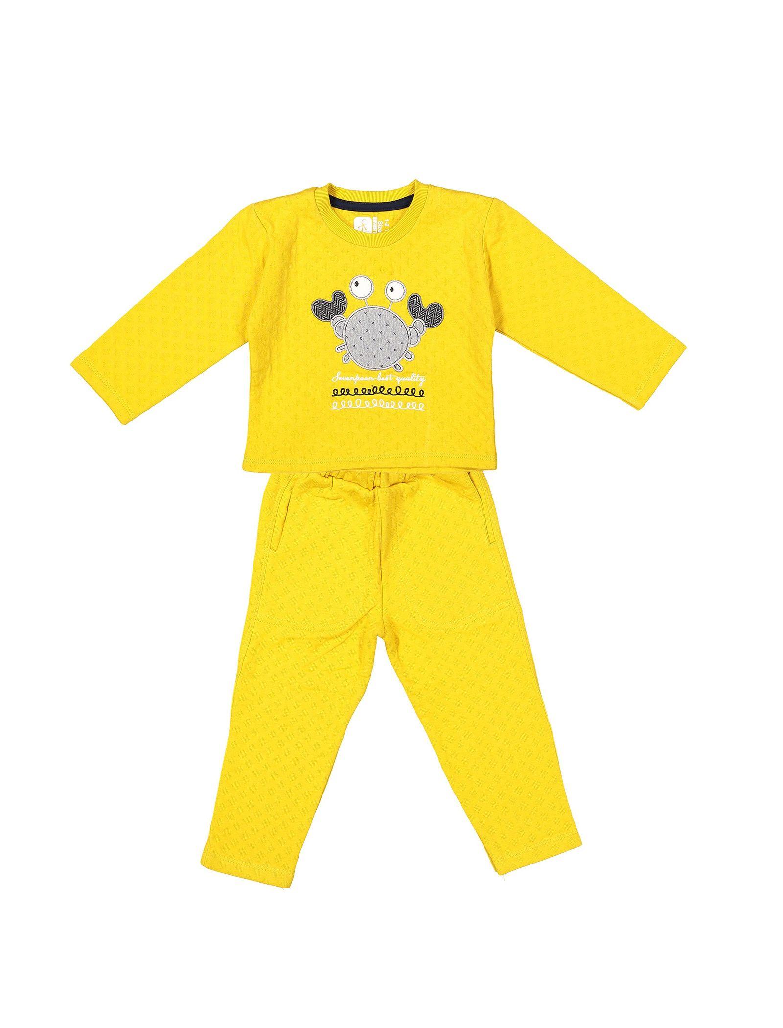 تی شرت و شلوار نخی پسرانه - سون پون - خردلي - 1