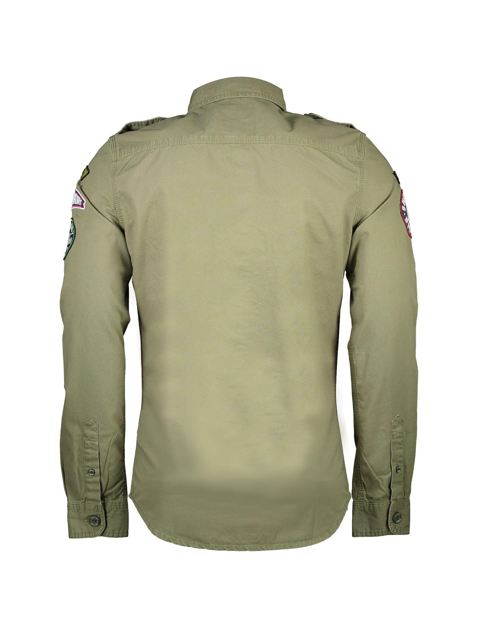 پیراهن نخی آستین بلند مردانه - سوپردرای - سبز - 4