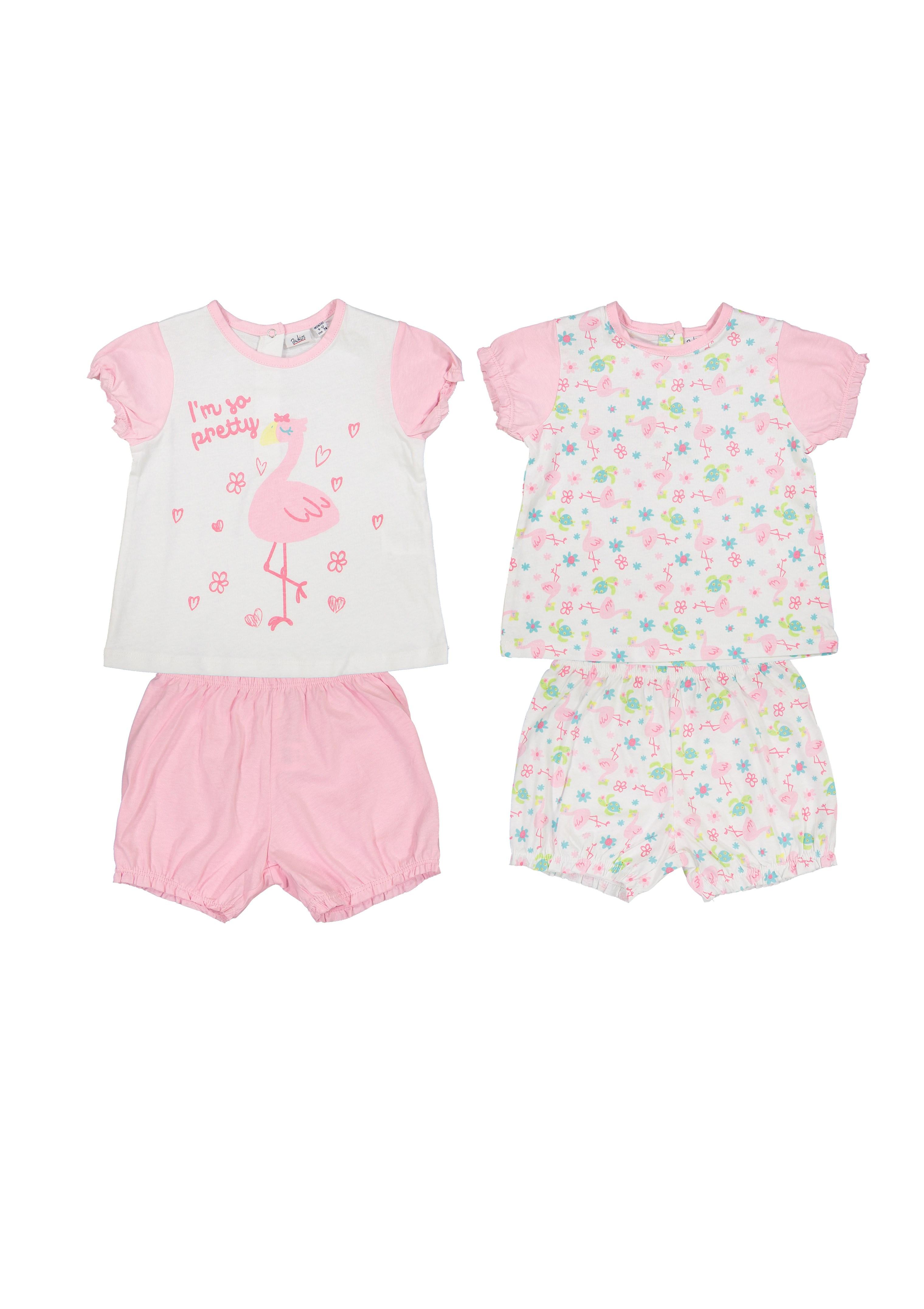 تی شرت و شلوارک نخی نوزادی دخترانه بسته 2 عددی - بلوکیدز