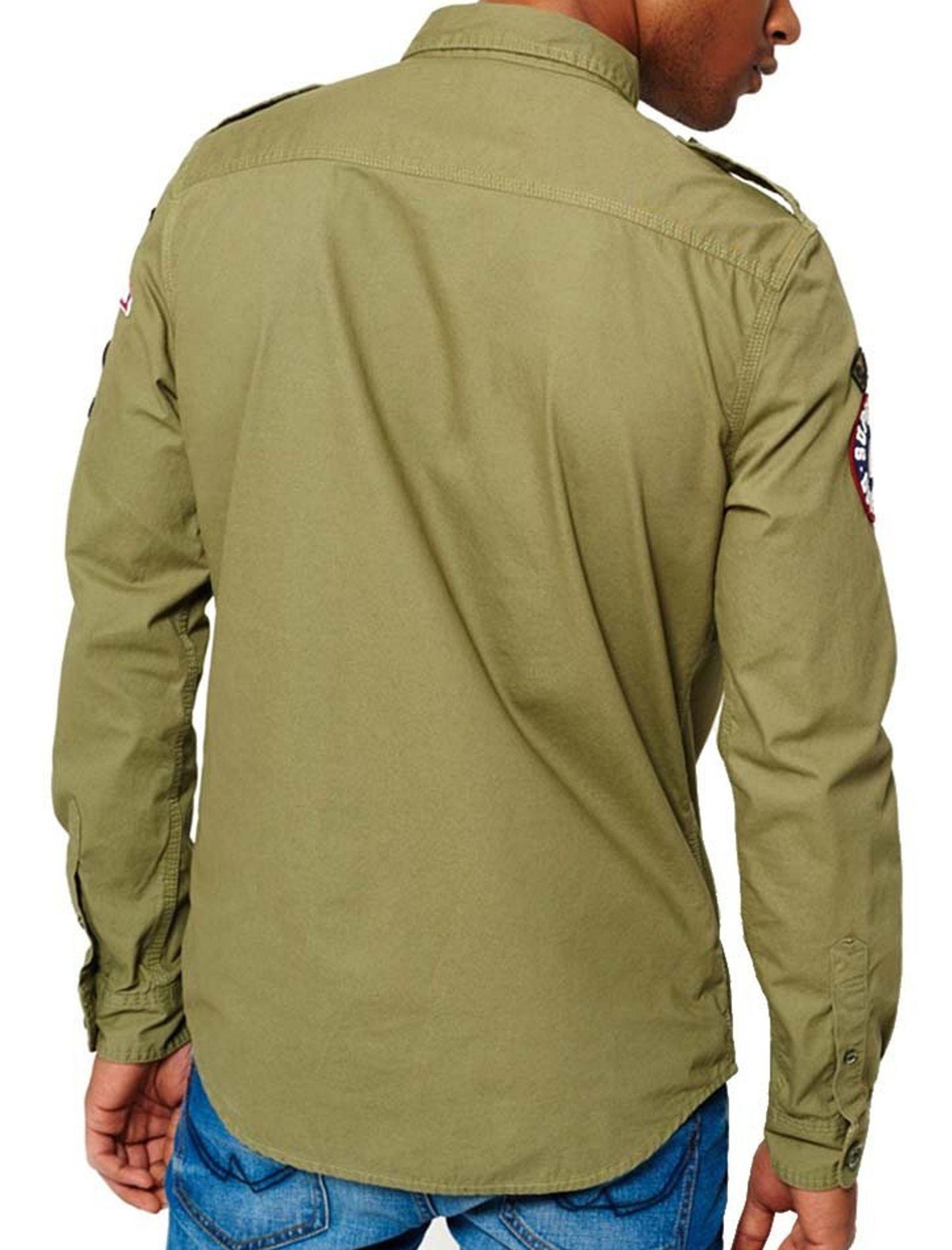 پیراهن نخی آستین بلند مردانه - سوپردرای - سبز - 6
