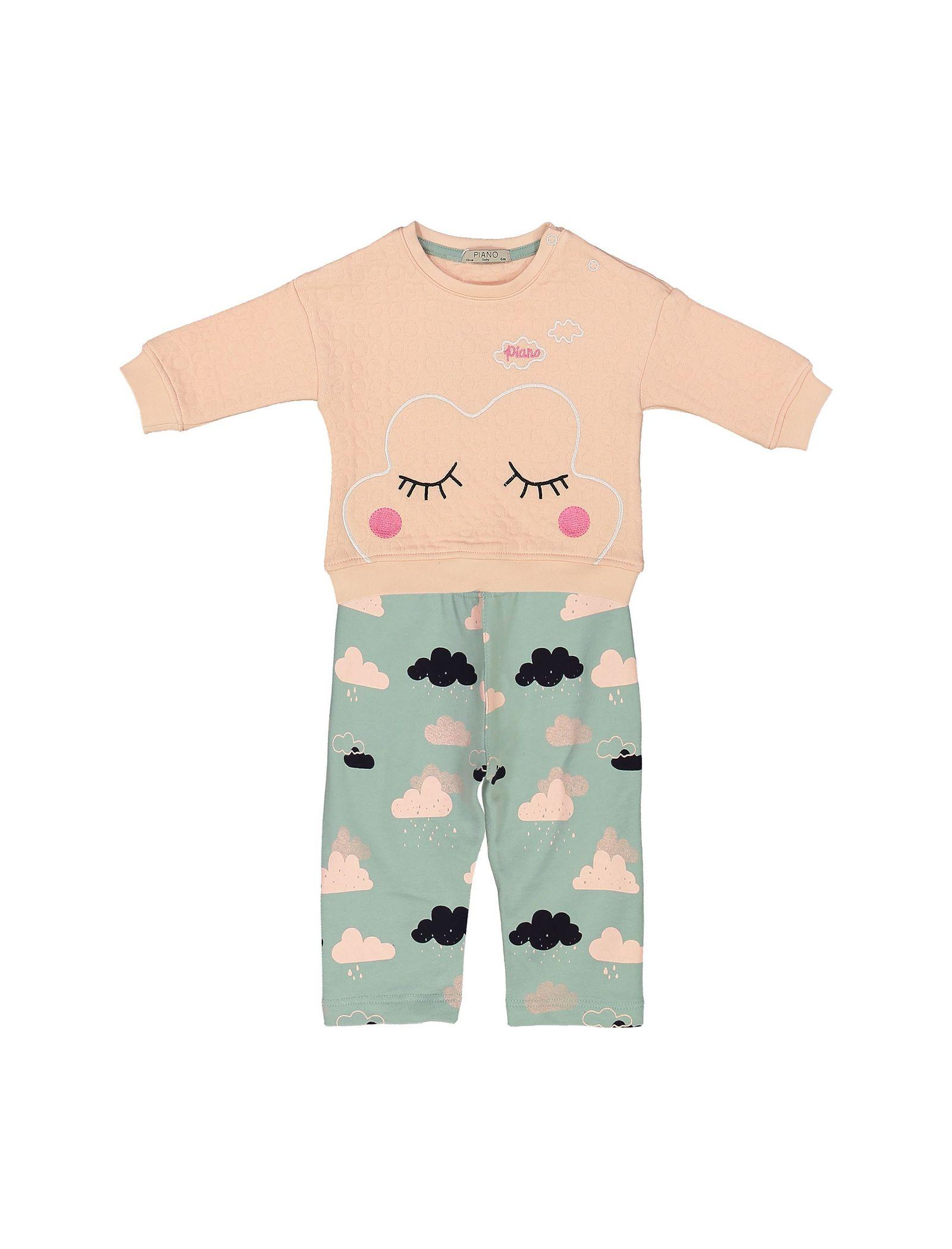 بلوز و شلوار نوزادی دخترانه - پیانو - صورتي و سبز آبيصورتي - 4