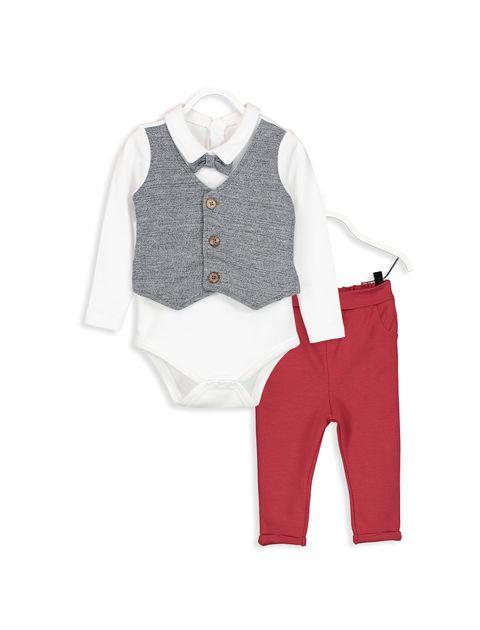 شلوار و بادی نخی نوزادی پسرانه - سفيد/ قرمز - 1