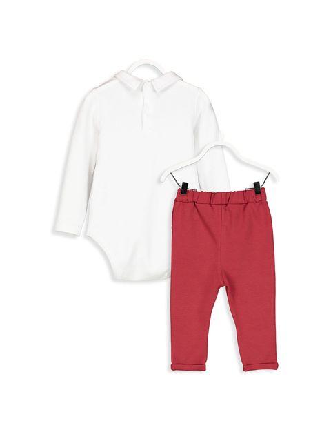 شلوار و بادی نخی نوزادی پسرانه - سفيد/ قرمز - 2