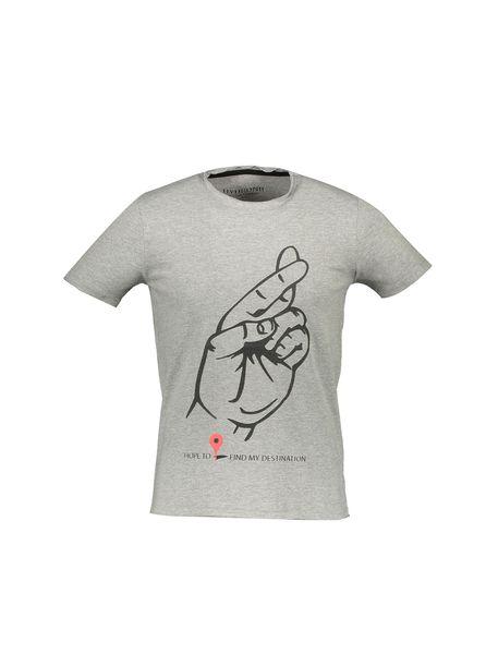 تی شرت نخی یقه گرد مردانه - طوسي - 1