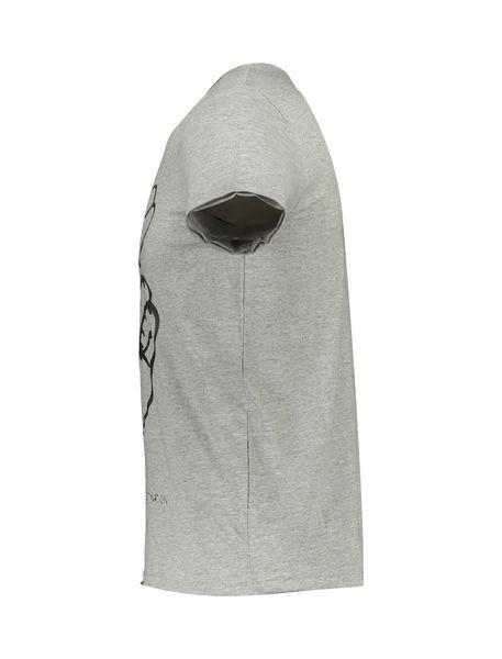 تی شرت نخی یقه گرد مردانه - طوسي - 3