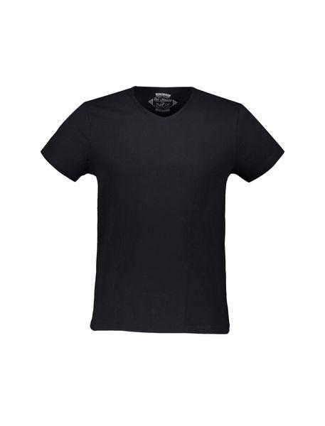 تی شرت نخی هفت گرد مردانه - مشکي - 1