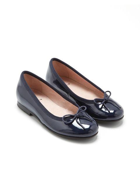 کفش چرم تخت دخترانه Dittle - سرمه اي - 2