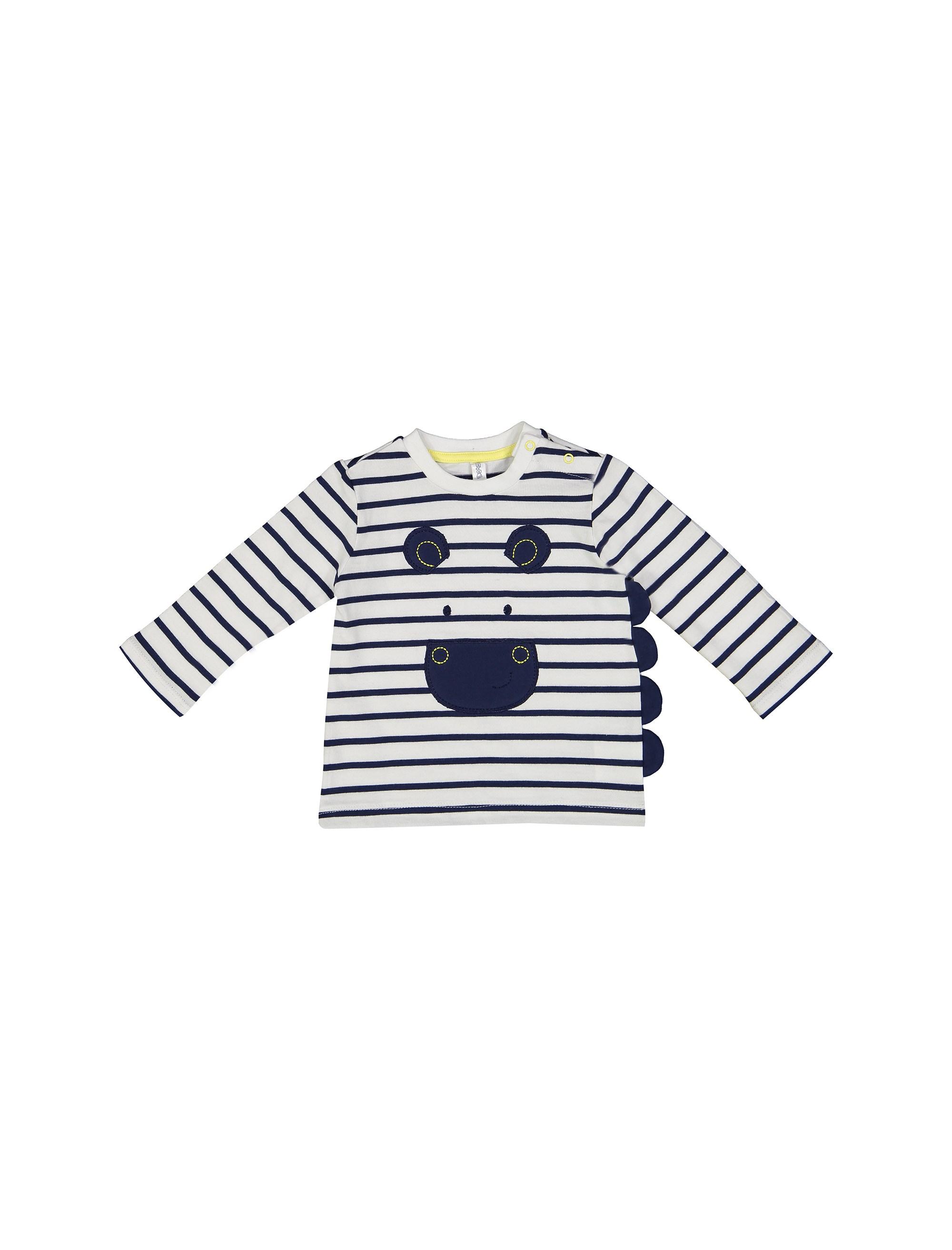 تی شرت نخی نوزادی پسرانه - سفيد و سرمهاي - 1