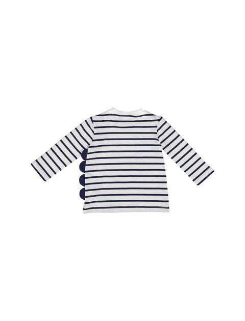 تی شرت نخی نوزادی پسرانه - سفيد و سرمهاي - 2