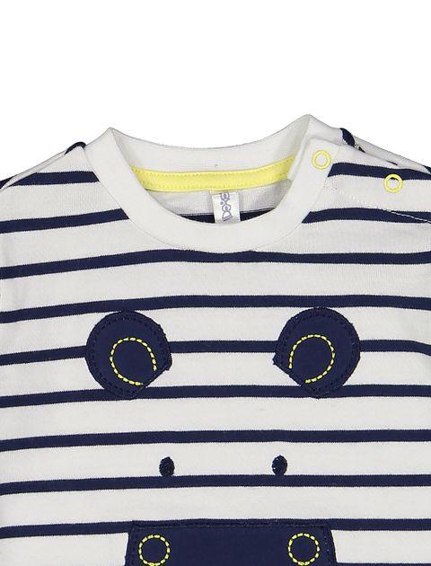 تی شرت نخی نوزادی پسرانه - سفيد و سرمهاي - 3