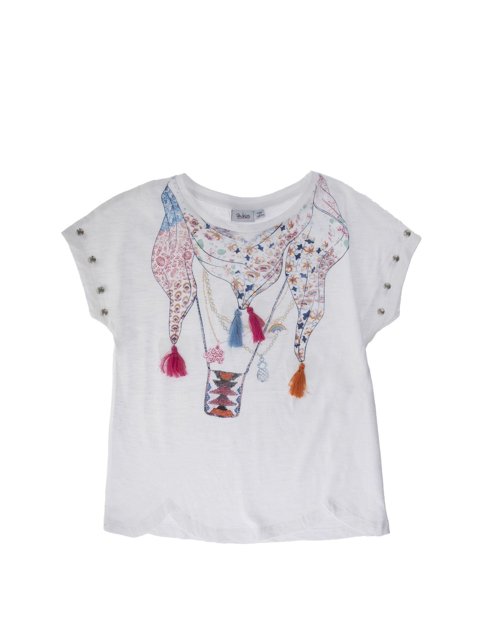 تی شرت نخی یقه گرد دخترانه - بلوکیدز - سفيد - 1