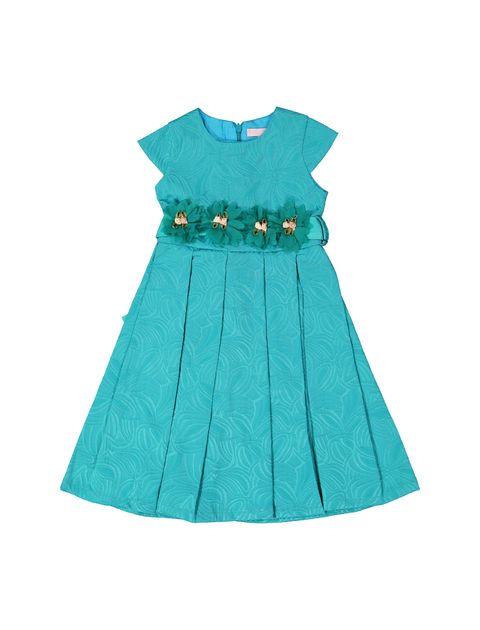 پیراهن مهمانی دخترانه - سبز آبي  - 1