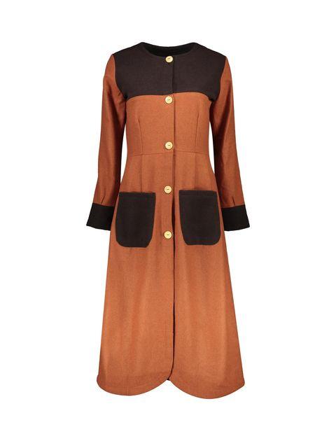 پالتو بلند زنانه - نارنجي/قهوهاي - 1