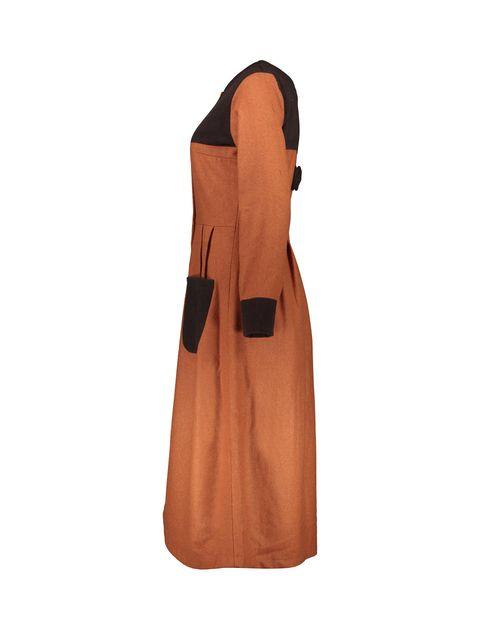 پالتو بلند زنانه - نارنجي/قهوهاي - 2