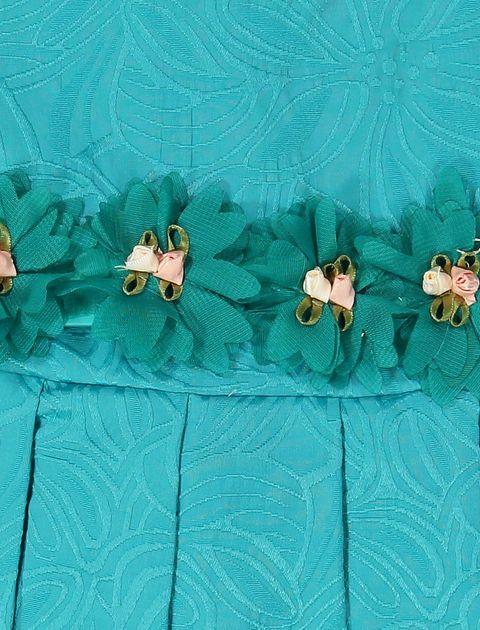 پیراهن مهمانی دخترانه - سبز آبي  - 3