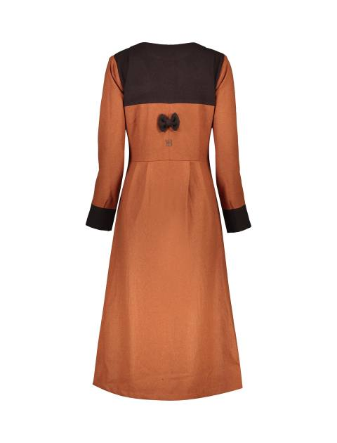 پالتو بلند زنانه - نارنجي/قهوهاي - 3