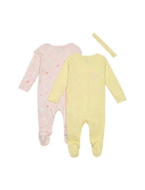 سرهمی نخی نوزادی دخترانه بسته 2 عددی - بلوزو - زرد / صورتي - 2