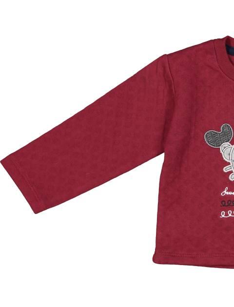 تی شرت و شلوار نخی پسرانه - سون پون - زرشکي  - 6