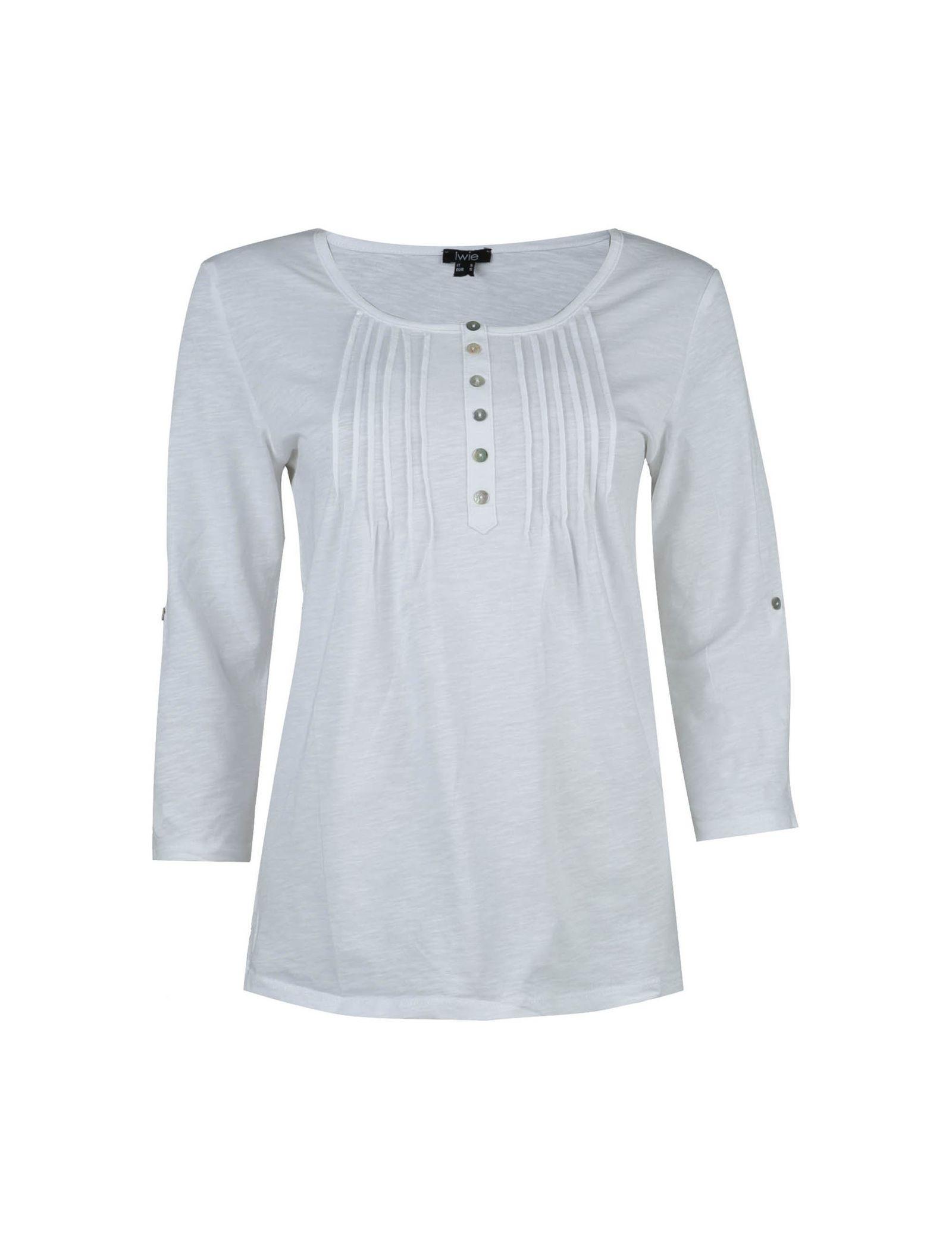 تی شرت نخی یقه گرد زنانه - یوپیم - سفيد - 1